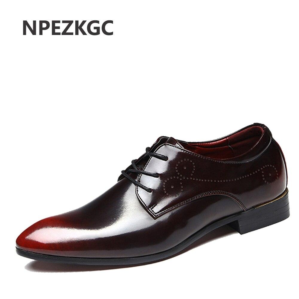 NPEZKGC Luxury Brand Men Shoes Mens Flats Shoes Men Patent Leather Shoes Casual Oxford Shoes For Men