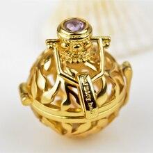 H98-18 18 K chapado en oro bola de la armonía S925 joyería diseño de la hoja de colores ángel de llamadas colgante para mujeres embarazadas 18 * 16 mm