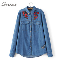 DOSOMA 2017 Autumn Spring Women Tops Jeans Blouse Turn Down Collar Floral Embroidery Rivet Pocket Vetement