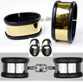 Gold Silver Silicone Handcuffs for Sex SM Fetish Bondage Stainless Steel Hand Cuffs Adult Game Sex Toys for Women and Men G53
