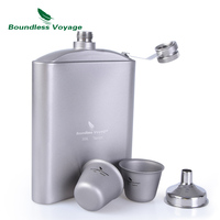 Boundless Voyage Outdoor Tableware Titanium Pocket Hip Flask Camping Picnic Alcohol Whiskey Flagon Wine Pot Drinkware 7oz 200ml