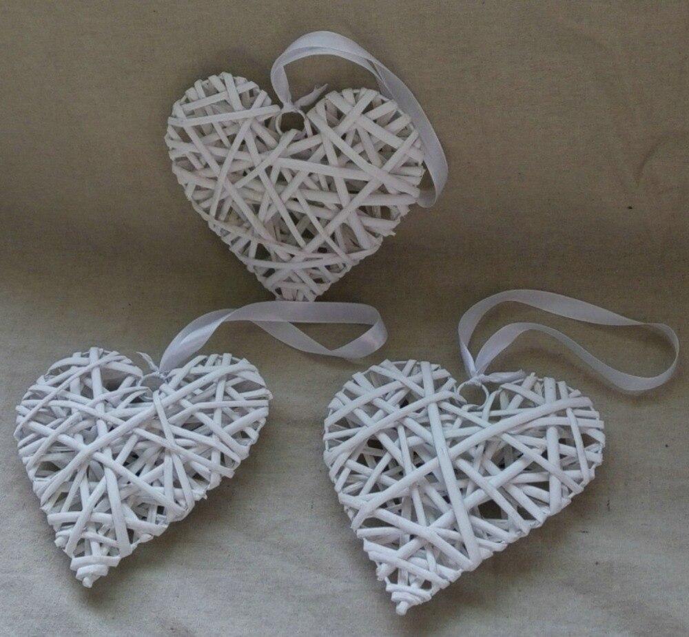 Kostenloser Versand 20 Cm Hängenden Korb Herz In Weiß Clor Mit Band