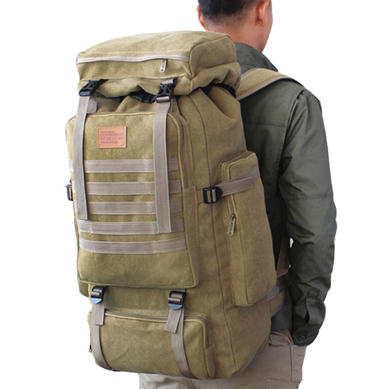 60L Large Military Bag Canvas Backpack Tactical Bags Camping Hiking Rucksack Army Mochila Tactica Travel Molle Men Outdoor Bags