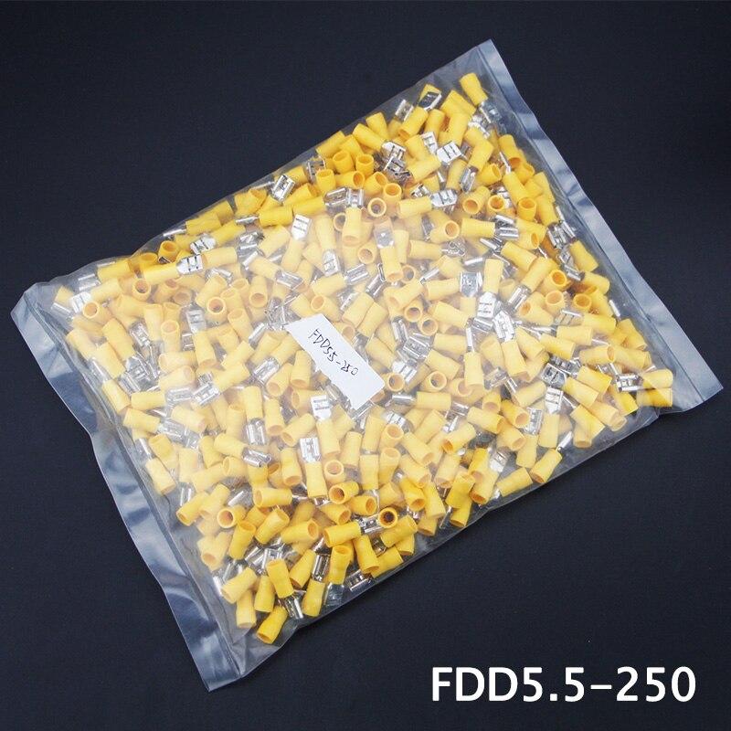 500pcs FDD5.5-250 Pre-insulating Female Terminal Brass 12-10 A.W.G