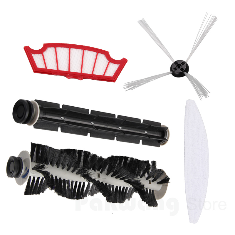 Accessories for XR210 & A320 Hair Brush 1 Pc Rubber Brush 1 Pc Side Brush 1 PC Mop 1 Pc Filter 1 Pc Robot Cleaner Spare Parts 1 pc 100