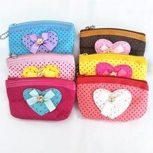M438 Creative Cartoon Cute Small Bowknot Love Dot Dot Line Data Line Coin Purse Card Bag Girl  Women Student Gift Wholesale