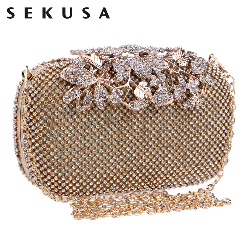 SEKUSA Flower Crystal Evening Bag Clutch Bags Clutches Wedding Purse Rhinestones Wedding Handbags Silver/Gold/Black Evening Bag sekusa women evening bags rhinestones metal crown handbags full of diamonds day clutches purse evening bags silver gold black