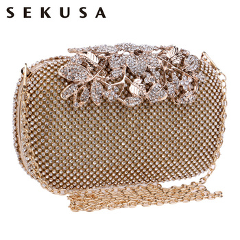 SEKUSA Flower Crystal Evening Bag Clutch Bags Clutches  Wedding Purse Rhinestones Wedding Handbags Silver/Gold/Black Evening Bag coloful ceramics fashion women evening bags with handle day clutches bag red blue gold colorful candy color diamonds wedding bag