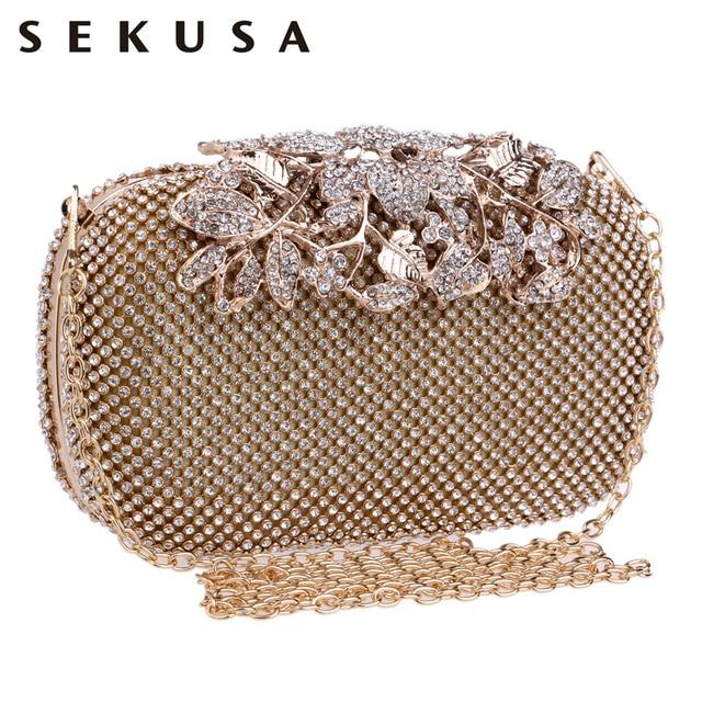 Sekusa Flower Crystal Evening Bag Clutch Bags Clutches Wedding Purse Rhinestones Handbags Silver Gold