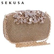 SEKUSA çiçek kristal akşam çanta el çantası manşonlar düğün çanta Rhinestones düğün çanta gümüş/altın/siyah gece çantası