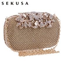 Sekusa flor cristal noite saco de embreagem sacos embreagem embreagem bolsa casamento strass bolsas de casamento prata/ouro/preto saco de noite