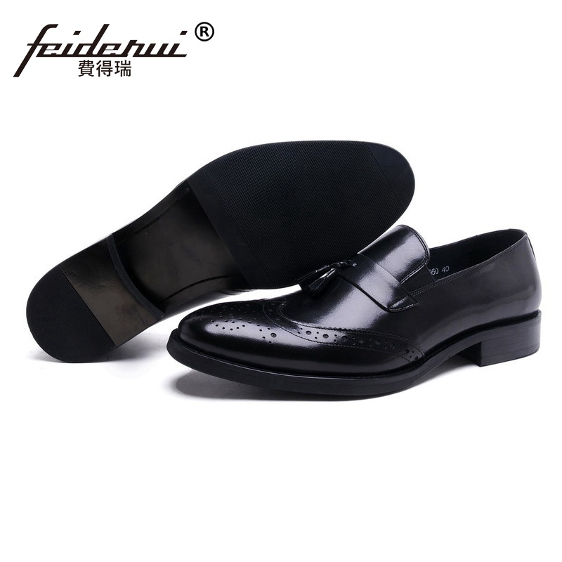 a14893c218d Vintage Brand Man Carved Formal Dress Shoes Genuine Leather Brogue Loafers  Round Toe Slip on Men's Tassels Wing Tip Flats KE59-in Formal Shoes from  Shoes on ...