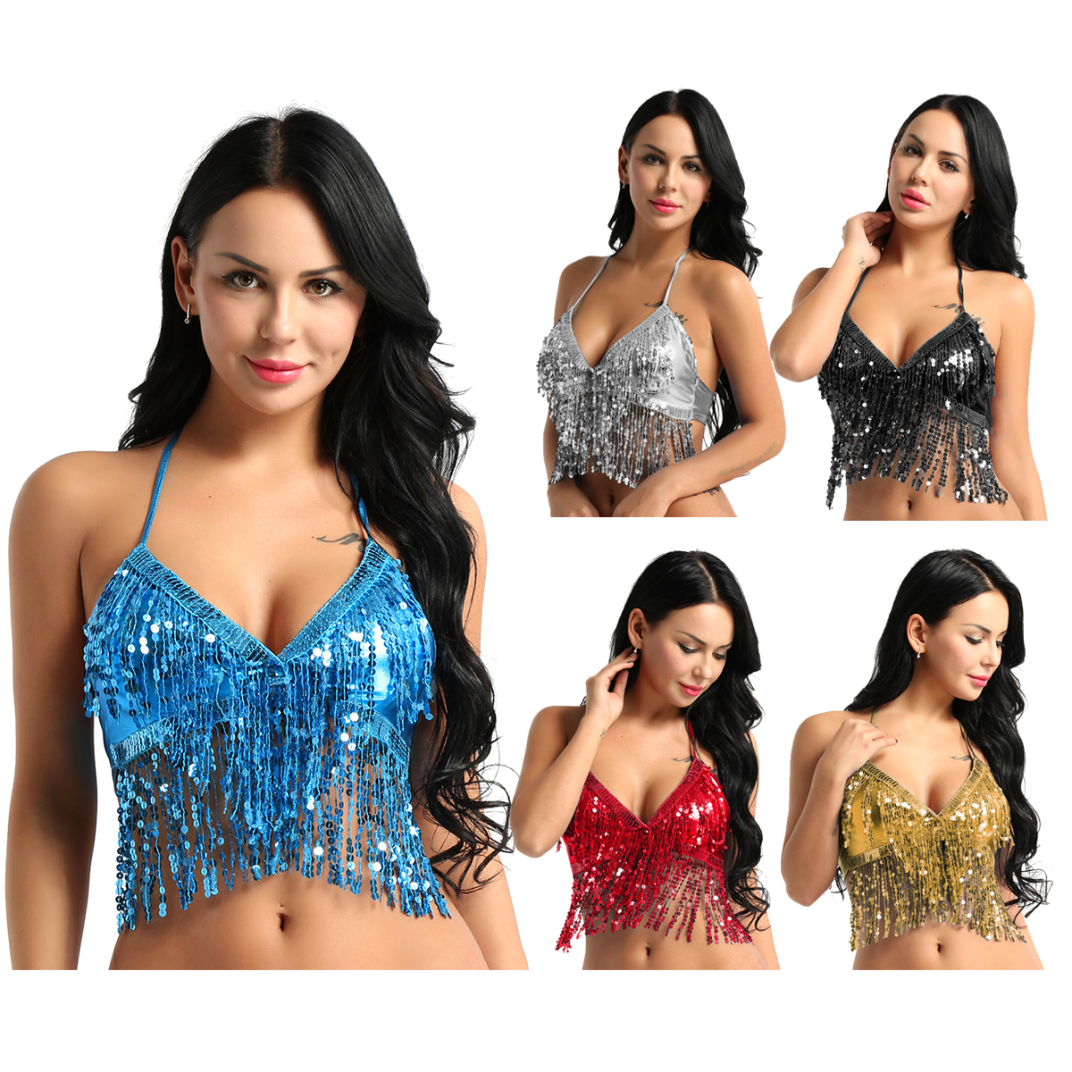 ChicTry Women Shiny Sequins Tassel Halter Dance Bra Top Latin Belly Dance Costume Club Party Festival Rave Dance Sexy Crop Tops