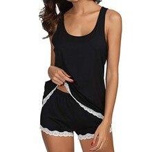 4b78b51ad Mulheres Pijama Conjunto de Pijama Listrado de Algodão Sem Mangas Lace  Pijamas Conjuntos de Pijama Femme