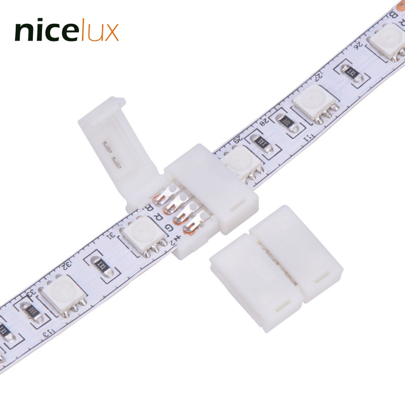 10pcs RGB LED Strip Connector 10mm 4 pin for 5050 5630 Middle Joint Connection DC 12V -24V With Teeth on Cap for Locking Better 5050 rgb 4 pin led strip connector corner 10mm dc 12 24v