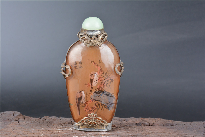 Collection old antique silver&glass Inside paint snuff bottle,bird&Flower, best adornment & collection, free shipping