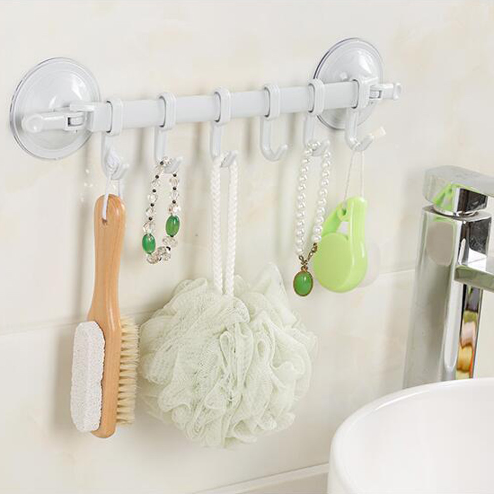 Dropshipping Wall Vacuum Rack Suction Cup 6 Hooks Towel Bathroom Kitchen Holder Sucker Hanger