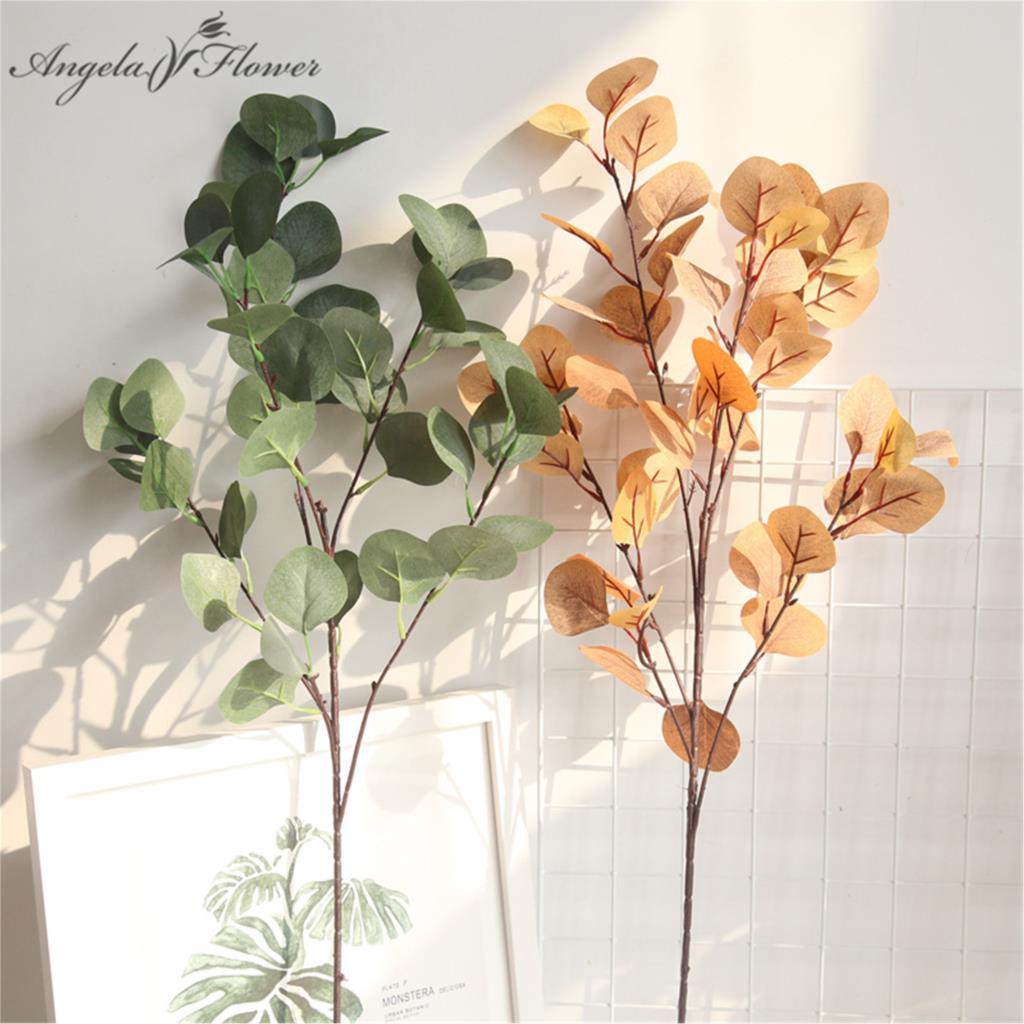 84 см Искусственный цветок эвкалипта листья деньги лист гинкго Сад Офис дом сделай сам Свадебный декор растения зеленый настенный искусстве...