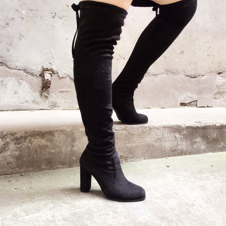NEW 2017 Autumn Winter Over the knee font b boots b font high heels Round Toe