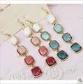 2013 Fashion Jewelry Women New Arrive Occident  Ladies Big Gem Long Drop Squares Earrings