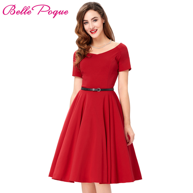 Women Dresses Sexy Red Black Summer Dress Retro Pinup Hepburn V-neck Tunic  Swing Vestidos 50s Vintage Dress Rockabilly Big Size a787d9cbf5d7