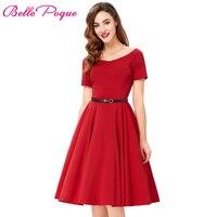 Women Dresses Sexy Red Black Summer Dress Retro Pinup Hepburn V neck Tunic Swing Vestidos 50s Vintage Dress Rockabilly Big Size