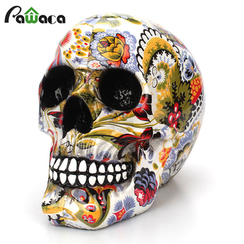 Horror Skull Decoration Resin Human Skeleton Skull Color Flower Painting Halloween Home Bar Table Desktop Decoration Craft Gift