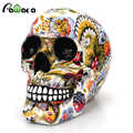 Horreur crâne décoration résine humain squelette crâne couleur fleur peinture Halloween maison Bar Table bureau décoration artisanat cadeau