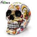 Horror dekoracja w kształcie czaszki żywica ludzki szkielet czaszka kolor kwiat malarstwo halloween do odmu Bar stół do komputera ozdobne statki prezent