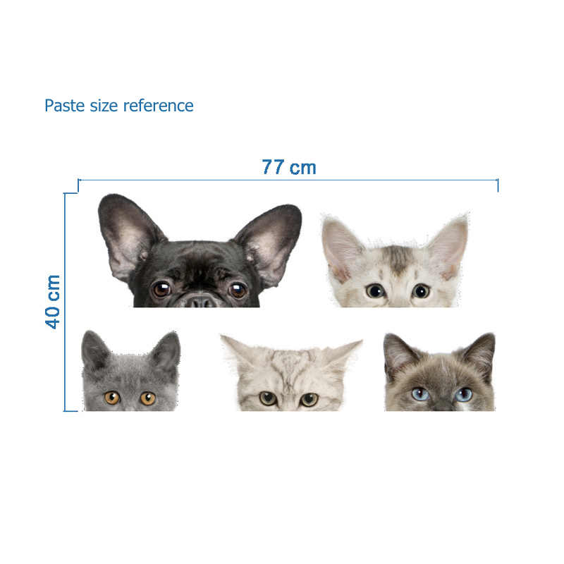 مضحك ثلاثية الأبعاد القط الكلب نصف وجه Peeking سيارة ملصق جدار خلفية ملصقات فنية ديكورات لطيف الحيوان ملصقات جدار للديكور المنزل