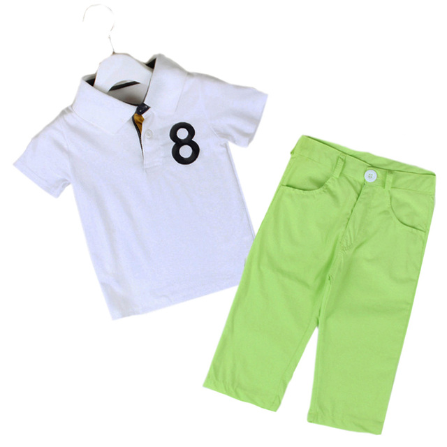 2-5 Years Younger Children Boys Clothes Set Short Sleeve White Polos T-shirt + Candy Color Long Pants Trousers Suits MA04TZ