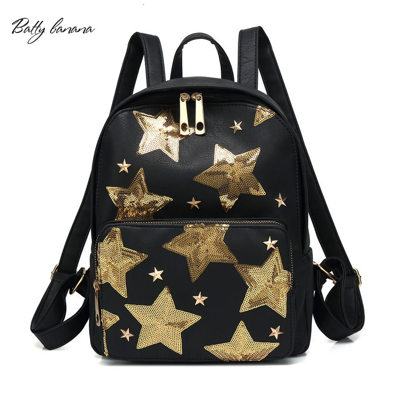 BATTY BANANA High Quality Backpacks School Bag For Girls Solid Backpack With Sequins Small Women Backpack Fashion Bag цена 2017
