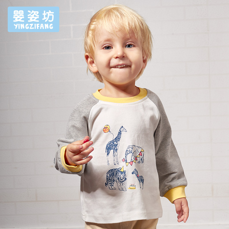 2017 Spring New Cotton Boys Full Cartoon Animal Printed Sleeve Sweatshirt Boy Girl Kids Pullover Top Shirts Clothing Tees