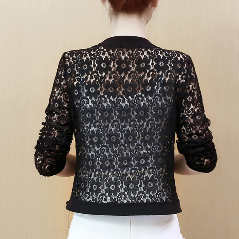 HTB1qQ11SYvpK1RjSZFqq6AXUVXaF - Women Jacket Long Sleeve black hollow lace jacket women fashion women's jackets women coats and jackets women clothing B239