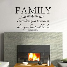 Free shipping Family wall quote Bible Wall Decal Stickers - Where Your Treasure Is ,There Your Heart Will Be(China)