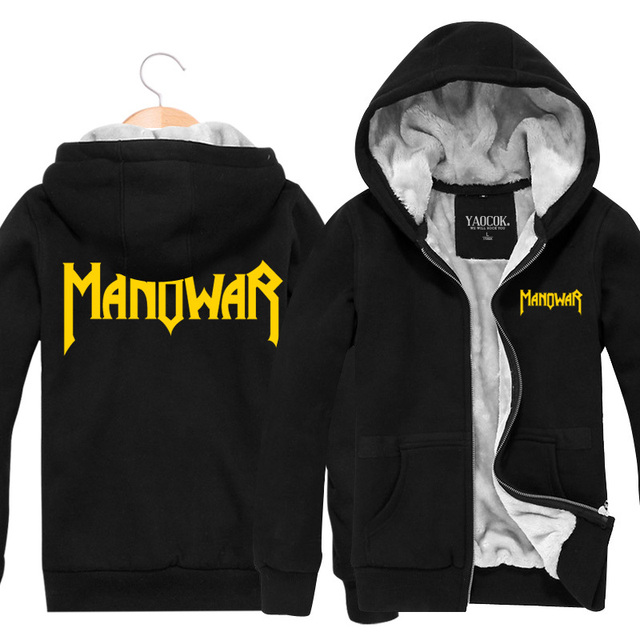 2015 New Fashion Winter Cotton Sportswear Manowar Rock Band Men Hoodies And Sweatshirts Zipper Thickening Plus Velvet Jackets
