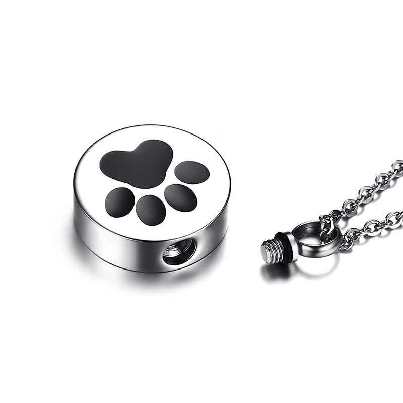 Paw Print urna dla zwierząt wisiorek naszyjnik dla kobiet mężczyzn ze stali nierdzewnej srebrny Tone uchwyt na popiół biżuteria do kremacji 20 cal