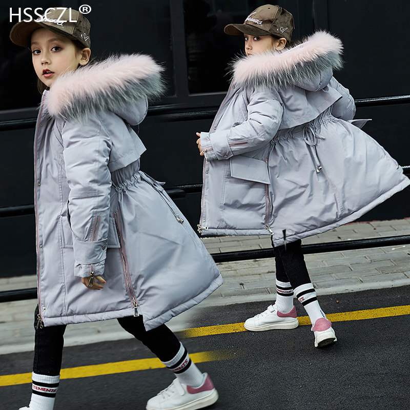 HSSCZL Girls Duck Down Jackets 2018 Winter Thicken Big Girl Children Down Coat Outerwear Overcoat Long Parkas Hooded Fashion fashion girls winter coat long down jacket for girl long parkas 6 7 8 9 10 12 13 14 children zipper outerwear winter jackets