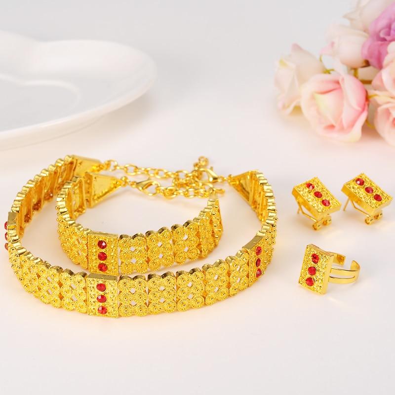 Bangrui Jewelry-Sets Habesha Chokers Ethiopian Eritrea Ring/bracelet Africa Gold-Color