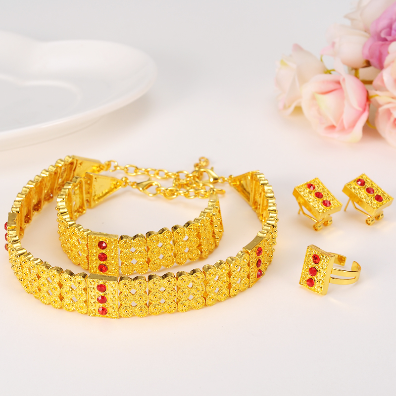 Bangrui Gold Color Эфиопиялық зергерлік бұйымдар жиынтығы Chokers Ожерелье / сырға / Ring / Білезік Eritrea Habesha Африка Үйлену жиынтығы