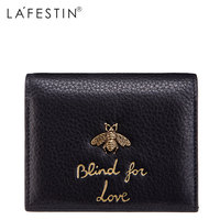 LAFESTIN Women Short Wallet Genuine Leather Honey Fashion 100 Leather Coin Purse Lady Credit Card Holder