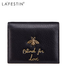 LAFESTIN Women Short Wallet Genuine Leather Honey Fashion 100% Leather Coin Purse Lady Credit Card Holder Female Women's Wallet