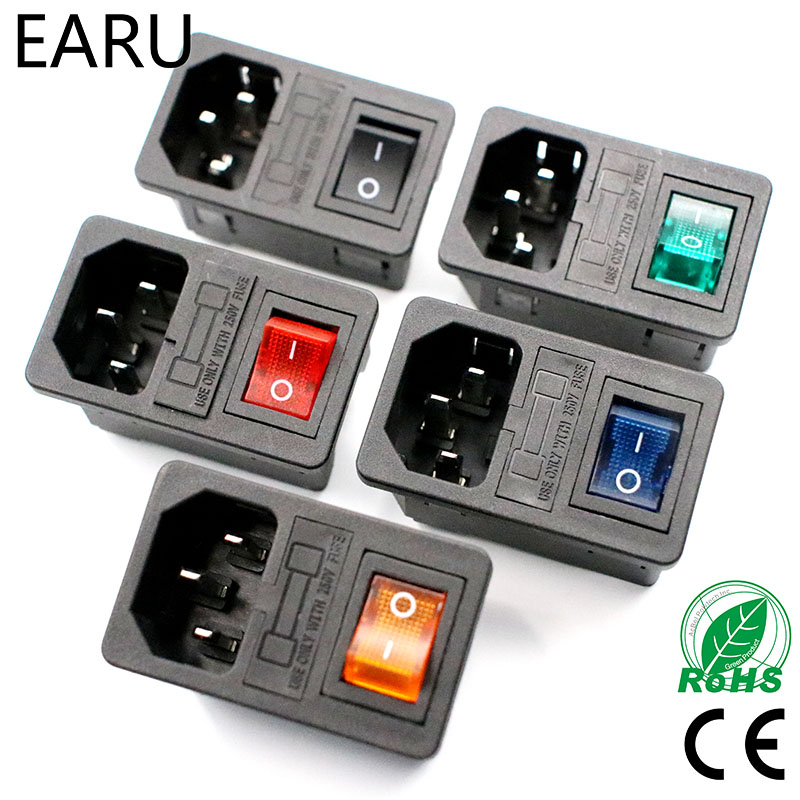 With 10A Fuse! Red Rocker Switch Fused IEC320 C14 Inlet Power Socket Fuse Switch Connector Plug Connector Red Green Blue Black yuxi new two way socket iec320 c14 inlet c13 outlet electrical socket industrial plug power rocker socket connector 10a 250v