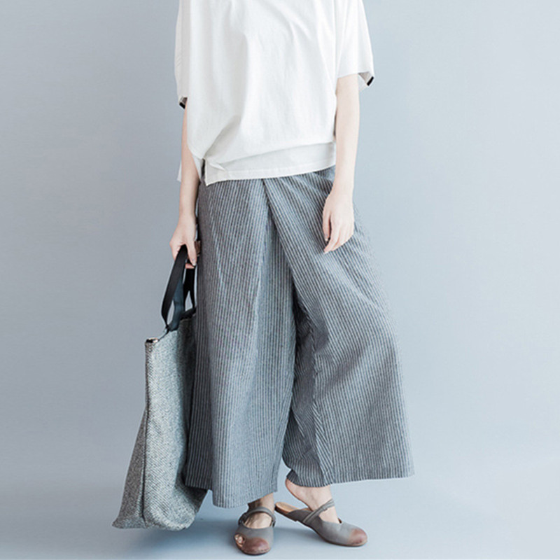 Johnature 2019 Summer New Plus Size Casual Striped   Wide     Leg     Pants   Loose Simple Joker Women Patchwork Ankle-length   Pants