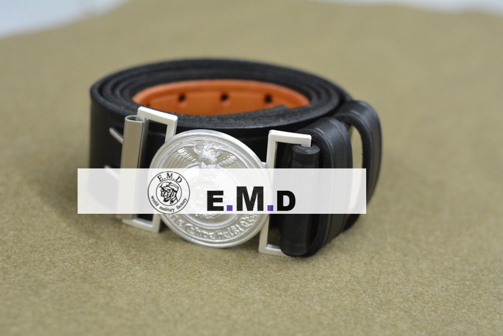 Leather   belt  . Aluminum   belt   buckle. Hand sewing