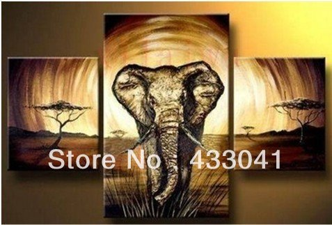 3 Piece Art Sets Hand Painted abstract elephant painting Modern ...