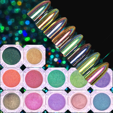 0.2g Peacock Holographic Chameleon Nail Glitter Powder Mirror Holo Laser Chrome Pigment Manicure Nail Art Decorations