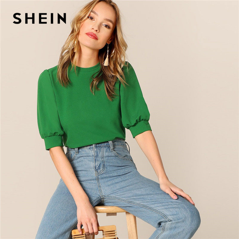 SHEIN Ladies Casual Green Puff Sleeve Keyhole Back Solid Top And Blouse Women 2019 Summer Workwear Half Sleeve Elegant Blouses silk