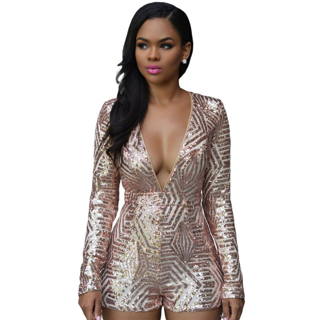 196f8f39e1c Sequin Romper Sexy V-Neck Women High Waist Rompers And Jumpsuits Black Gold  Sequins Ladies Long Sleeve Playsuit Club Bodysuits