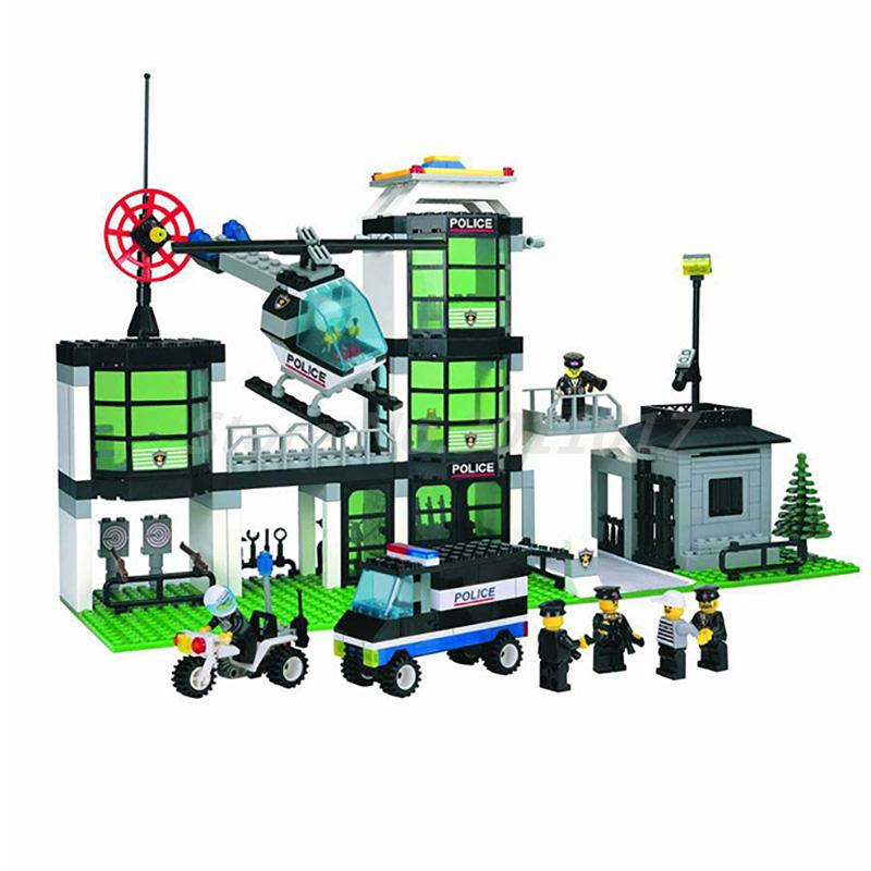 ENLIGHTEN 110 City Police Station Model Building Blocks Classic Action Figure 466Pcs Bricks Toys For Children Christmas Gifts b1600 sluban city police swat patrol car model building blocks classic enlighten diy figure toys for children compatible legoe